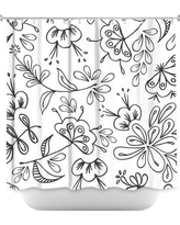 DiaNocheDesigns Band with Flora Shower Curtain SHO-ZaraMartinaBandWithFlora