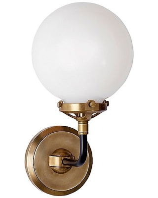Bistro White Glass Wall Sconce by Visual Comfort - Color: Gold - Finish: Antique - (S 2024HAB/BLK-WG)