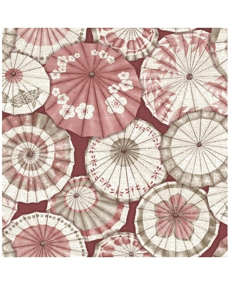 MANHATTAN COMFORT INC Greenfield, Red Mikado Parasol Paper Strippable Wallpaper Roll (Covers 56.4 sq. ft.)