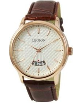 LEGION/CONCEPTS IN TIME Rose Gold/Brown Rose Gold Brown Strap Calendar Watch