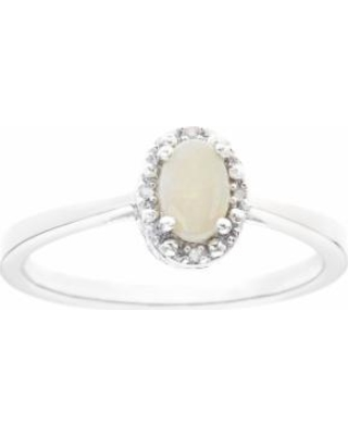 Sterling Silver Opal & Diamond Accent Oval Halo Ring, Women's, Size: 8, White