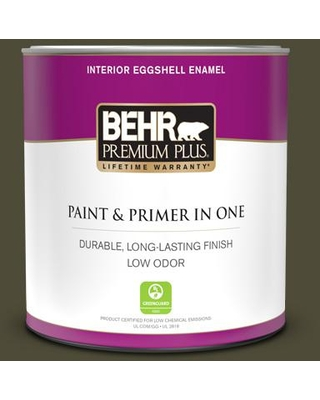 BEHR PREMIUM PLUS 1 qt. #S-H-760 Olive Leaf Eggshell Enamel Low Odor Interior Paint and Primer in One