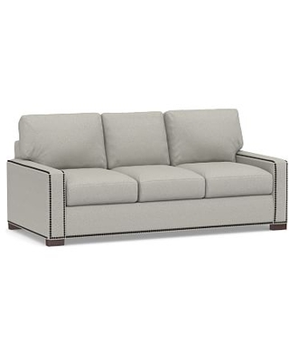 Turner Square Arm Upholstered Sleeper Sofa with Bronze Nailheads, Polyester Wrapped Cushions, Performance Boucle Pebble