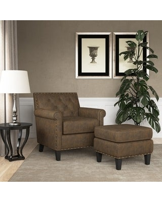 Gracewood Hollow Grantley Button Tufted Rolled Arm Chair and Ottoman (Saddle Brown)