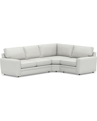Pearce Square Arm Upholstered Left Arm 3-Piece Wedge Sectional, Down Blend Wrapped Cushions, Performance Slub Cotton White