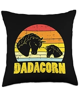 Best Dad Pillows Husband Birthday Fathers Day Gift Dadacorn Sunset Retro Dad Unicorn Fathers Day Daddy Papa Men Throw Pillow, 18x18, Multicolor
