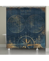 Darby Home Co Consolata Golden Compass World Map Shower Curtain DRBH2853