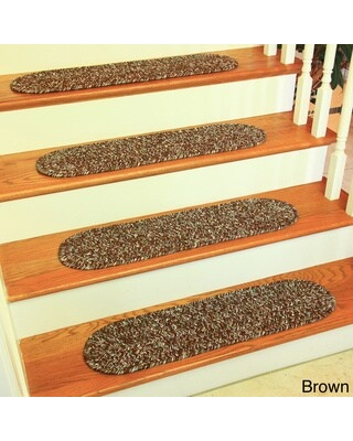 """Rhody Rug Sandi Reversible Braided Stair Treads (Set of 4) - 8"""" x 28"""" Oval (8"""" x 28"""" Oval - Brown)"""