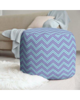 East Urban Home Classic Hand Drawn Chevron Pattern Pouf W001706128 Upholstery Color: Teal.Purple