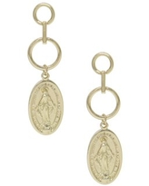 Small Mary Oval Coin Drop Earrings in Gold