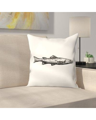 """East Urban Home Jetty Printables Trout Illustration Throw Pillow FVIH4442 Size: 16"""" x 16"""""""