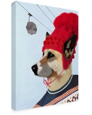 """'Dog in Ski Sweater' Graphic Art Print on Wrapped Canvas Wrought Studio™ Size: 19"""" H x 14"""" W x 2"""" D"""