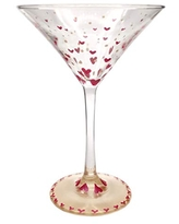 Hand Painted Valentine Martini Glass Tiny hearts in metallic red and champagne