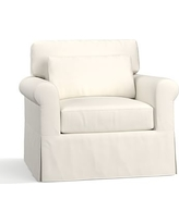 York Roll Arm Slipcovered Deep Seat Armchair, Down Blend Wrapped Cushions, Performance Twill Warm White