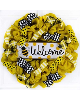 Welcome Black Gold and White deco mesh wreathEveryday WreathWelcome WreathBlack and Gold Wreath