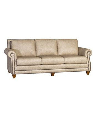 399000L10-S-FV Ike Leather Sofa with Antique Nail Head Trim and Walnut