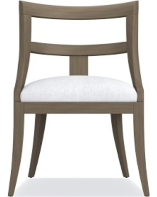 Piedmont Dining Side Chair, Sky Grey, Chunky Linen, White