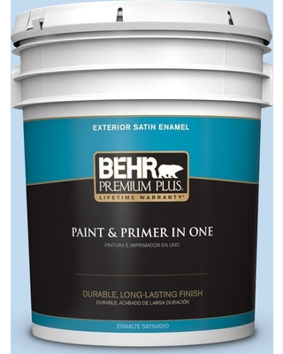 BEHR Premium Plus 5 gal. #560A-2 Morning Breeze Satin Enamel Exterior Paint and Primer in One