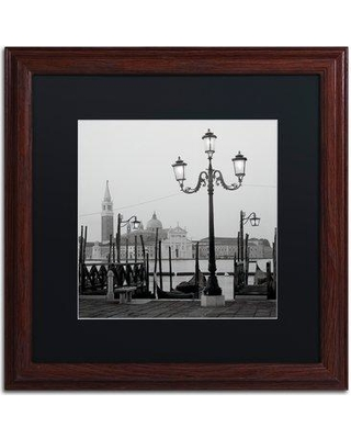 "Trademark Art 'Venezia IV' Framed Photographic Print ALI5131 Size: 16"" H x 16"" W x 0.5"" D Frame Color: Brown Mat Color: Black"