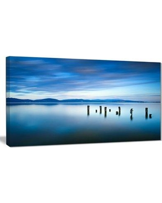 """Design Art 'Cloudy Sky' Photographic Print on Wrapped Canvas in Blue Sea, Canvas & Fabric in Brown/Blue, Size 16"""" H x 32"""" W x 1"""" D 