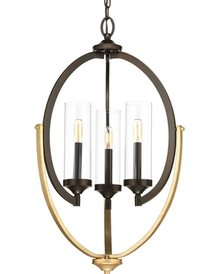 Progress Lighting Evoke Collection 3-light Antique Bronze Chandelier with Clear Glass Shade