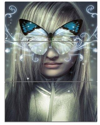 Design Art Serious Young Blonde - 3 Piece Graphic Art on Wrapped Canvas Set PT7947-3PV