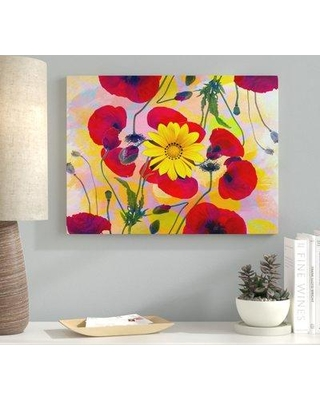 """Ebern Designs 'Daisy Abstract' Graphic Art Print on Wrapped Canvas EBRN2237 Size: 14"""" H x 19"""" W"""