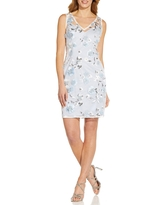 Women's Adrianna Papell Floral Embroidery Sleeveless Sheath Dress, Size 14 - Blue