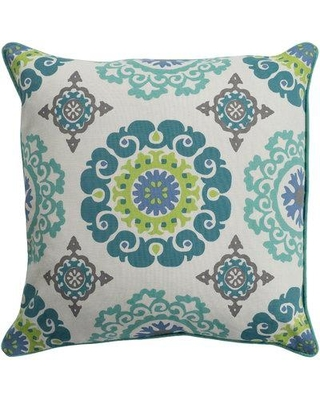 "Charlton Home Brierwood 100% Cotton Throw Pillow CHRL3692 Size: 18"" H x 18"" W Fill Material: Down Fill Color: Mint"