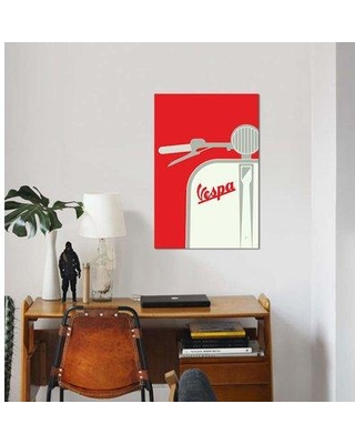 "East Urban Home Chungkong 'Vespa from Italy with Love' Graphic Art Print on Canvas EBHS1941 Size: 40"" H x 26"" W x 0.75"" D"