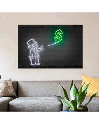 """East Urban Home 'Rich Uncle Pennybags with a Balloon' Graphic Art Print on Canvas ESUI2565 Size: 26"""" H x 18"""" W x 0.75"""" D"""