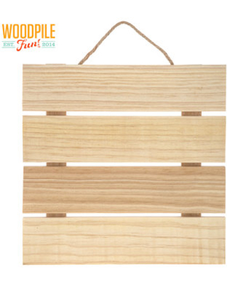Square Slatted Wood Wall Decor