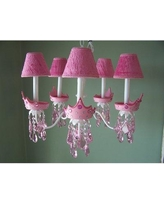 Silly Bear Glamour Girl Crowns 5-Light Shaded Chandelier TC39-3A- Shade: Polka Pink Dot