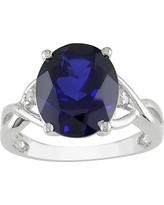 Created Blue Sapphire and Diamond Ring in Sterling Silver - Blue/White, Size: 8.0, Blue White