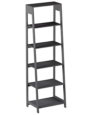 5-Tier Ladder Bookshelf - Freestanding Wooden Bookcase, Frame and Leaning Look - Decorative Shelves for Home and Office Storage by Lavish Home (Gray)