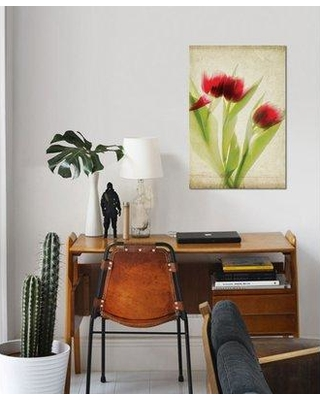 """East Urban Home 'Parchment Flowers I' Graphic Art Print on Canvas ESBH7596 Size: 18"""" H x 12"""" W x 0.75"""" D"""