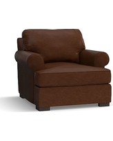 Townsend Roll Arm Leather Armchair, Polyester Wrapped Cushions, Leather Legacy Chocolate