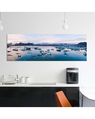 """'Jokulsarlon Glacial Lake, Iceland' By Matteo Colombo Graphic Art Print on Wrapped Canvas East Urban Home Size: 12"""" H x 36"""" W x 0.75"""" D"""