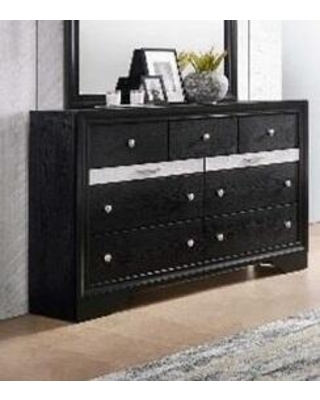 Logan Collection LG401-DR Dresser with 9 Drawers and Kenlin Center Glides in Black