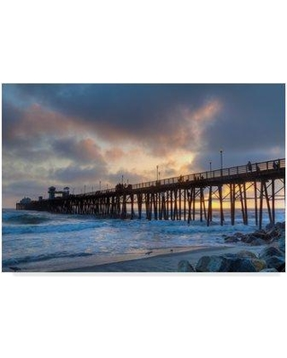 """Highland Dunes 'Sunset Through Oceanside Pier' Photographic Print on Wrapped Canvas HGLN1295 Size: 22"""" H x 32"""" W x 2"""" D"""