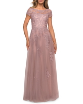 La Femme Embroidered Lace Illusion Yoke A-Line Gown, Size 18 in Mauve at Nordstrom