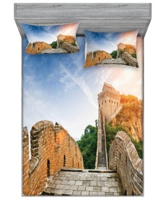 Dynasty Monument on Cliffs Historical Countryside Sheet Set East Urban Home
