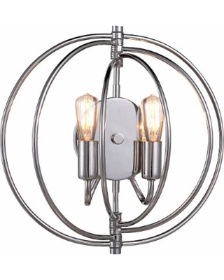 "Vienne 13"" High Polished Nickel Round 2-Light Wall Sconce"