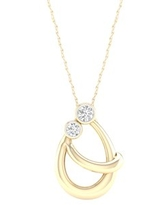 Imperial 1/10Ct TDW Diamond Yellow Gold Plated Silver Mom and Child Necklace (H-I, I2)