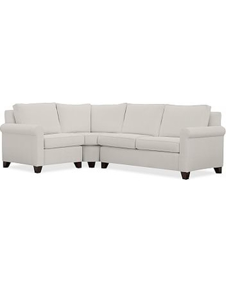 Cameron Roll Arm Upholstered Right Arm 3-Piece Wedge Sectional, Polyester Wrapped Cushions, Performance Heathered Tweed Ivory