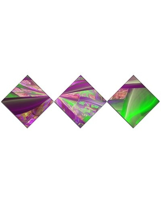 'Pink Green Fractal Curves' Graphic Art Print Multi-Piece Image on Canvas