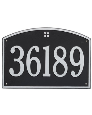 Whitehall Products 1-Line Personalized Address Wall Plaque in Black/Silver
