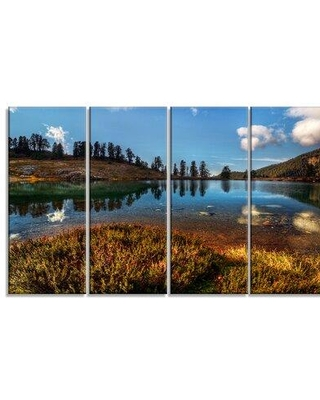Design Art 'Calm Mountain Lake and Clear Sky' 4 Piece Photographic Print on Wrapped Canvas Set PT14486-271