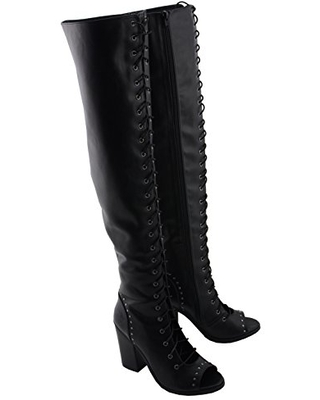 Milwaukee Performance MBL9421 Womens Black Lace-Up Knee High Boots with Open Toe - 6