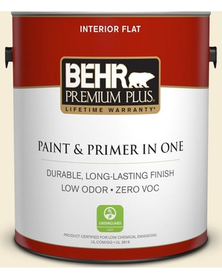 BEHR Premium Plus 1 gal. #W-D-420 Beach White Flat Low Odor Interior Paint and Primer in One
